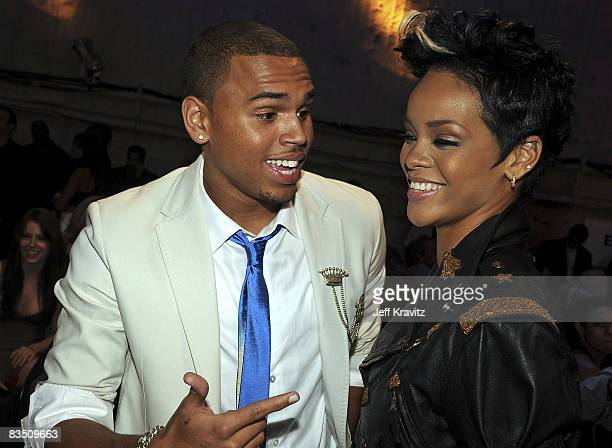 Singers Chris Brown and Rihanna at the 2008 MTV Video Music Awards at Paramount Pictures Studios on September 7 2008 in Los Angeles California