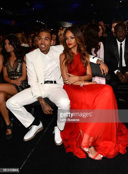 Singers Chris Brown and Rihanna attend the 55th Annual GRAMMY Awards at STAPLES Center on February 10 2013 in Los Angeles California