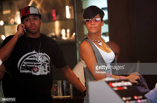 US Singers Chris Brown and Rihanna shopping at Diesel on Oxford Street Paddington in Sydney as they take a break from their Australian tour