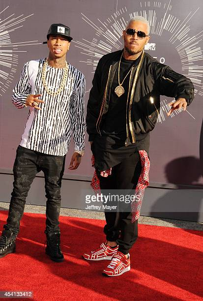 Singers Chris Brown and Tyga attend the 2014 MTV Video Music Awards at The Forum on August 24 2014 in Inglewood California