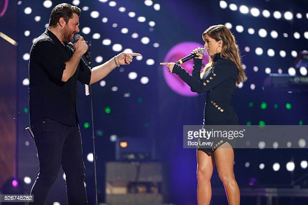 Singers Chris Young and Cassadee Pope perform onstage during the 2016 iHeartCountry Festival at The Frank Erwin Center on April 30 2016 in Austin...