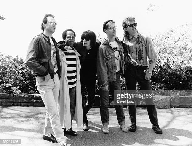 Singers Chrissie Hynde with her band, The Pretenders', at the Montreux Golden Rose Festival, May 1987.
