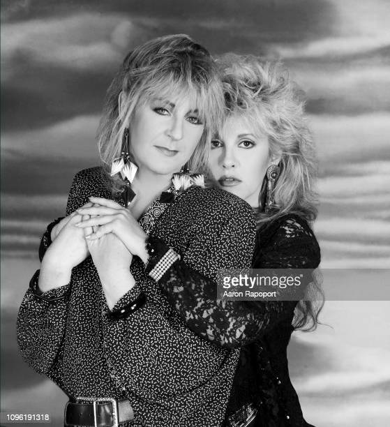 Singers Christine McVie and Stevie Nicks of Fleetwood Mac pose for a portrait circa 1987 in Los Angeles, California