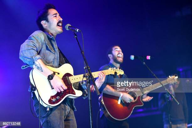 Singers Chuck Criss and Darren Criss of the band Computer Games performs onstage at The Fonda Theatre on December 13 2017 in Los Angeles California
