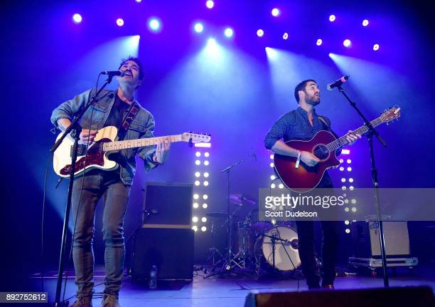 Singers Chuck Criss and Darren Criss of the band Computer Games perform onstage at The Fonda Theatre on December 13 2017 in Los Angeles California