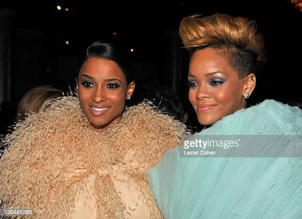 Singers Ciara and Rihanna during the 52nd Annual GRAMMY Awards Salute To Icons Honoring Doug Morris held at The Beverly Hilton Hotel on January 30...