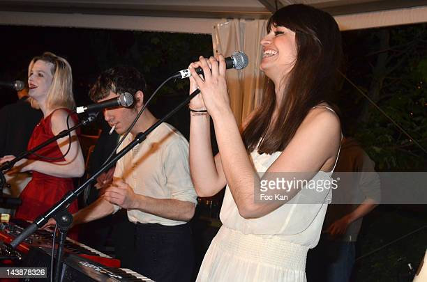 Singers Clemence Quelennec Marlon Magnee and Clara Luciani of La Femme perform during the Veillee Foodstock Party 2nd Night At MAC/VAL on May 4 2012...