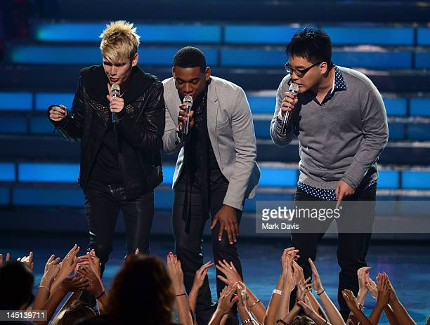 Singers Colton Dixon Joshua Ledet and Heejun Han perform onstage during Fox's American Idol 2012 results show at Nokia Theatre LA Live on May 23 2012...
