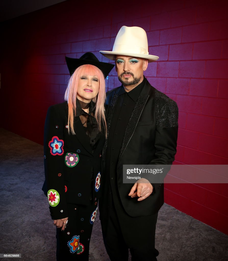 SYDNEY, NSW. (EUROPE AND AUSTRALASIA OUT) (L-R) Singers Cyndi Lauper and Boy George pose backstage at the International Convention Center in Sydney, New South Wales.