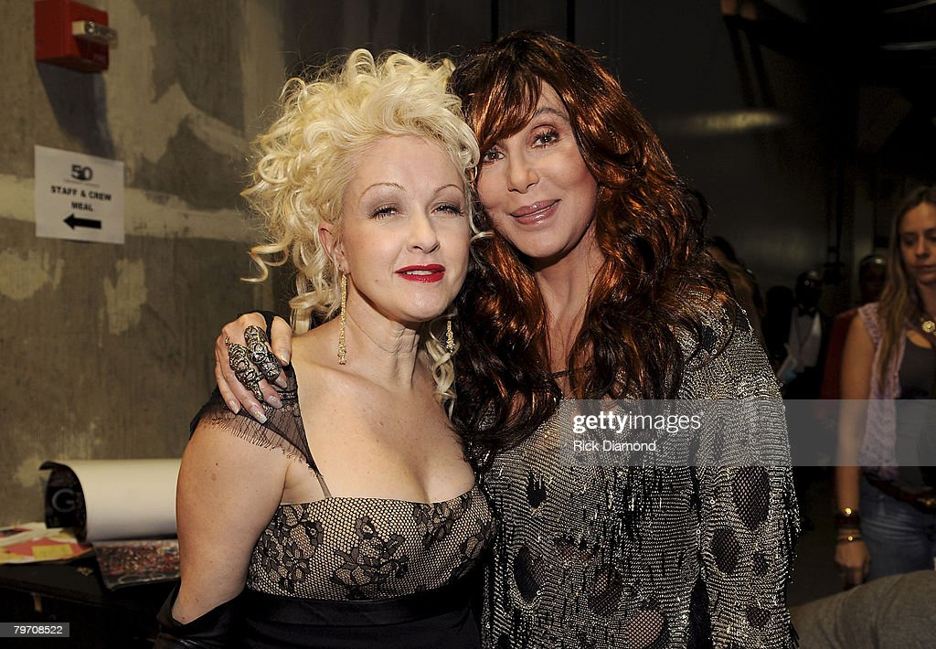 Singers Cyndi Lauper and Cher at the 50th Annual GRAMMY Awards at the Staples Center on February 10, 2008 in Los Angeles, California.