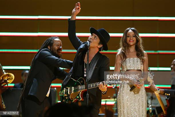Singers Damian Marley Bruno Mars and Rihanna perform onstage during the 55th Annual GRAMMY Awards at STAPLES Center on February 10 2013 in Los...