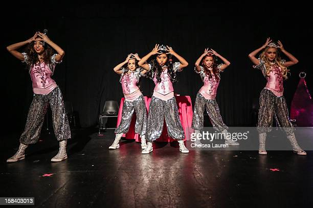 Singers / dancers Aspen Buck, Hailey Paolillo, Anna Villaranda, Kyla Laufer and Jordyn Jones of the 5 Little Princesses perform at the 5 Little...