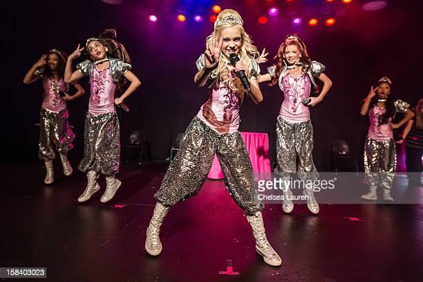 Singers / dancers Aspen Buck, Hailey Paolillo, Jordyn Jones, Kyla Laufer and Anna Villaranda of the 5 Little Princesses perform at the 5 Little...