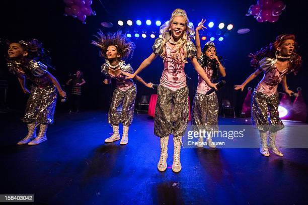 Singers / dancers Hailey Paolillo, Aspen Buck, Jordyn Jones, Kyla Laufer and Anna Villaranda of the 5 Little Princesses perform at the 5 Little...
