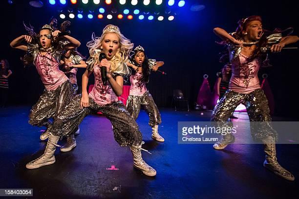Singers / dancers Hailey Paolillo, Jordyn Jones, Kyla Laufer and Anna Villaranda of the 5 Little Princesses perform at the 5 Little Princesses music...