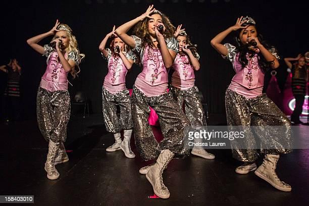 Singers / dancers Jordyn Jones, Kyla Laufer, Aspen Buck, Hailey Paolillo and Anna Villaranda of the 5 Little Princesses perform at the 5 Little...
