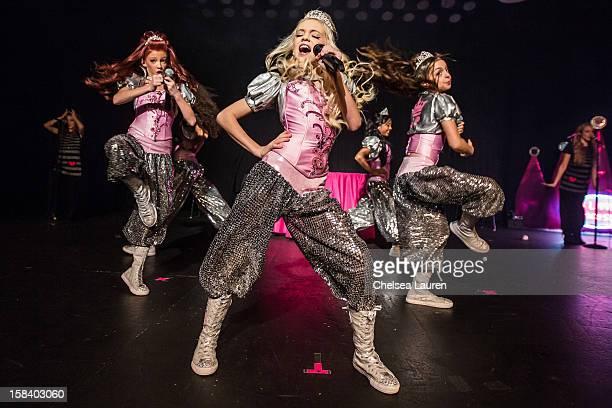 Singers / dancers Kyla Laufer, Aspen Buck, Jordyn Jones, Anna Villaranda and Hailey Paolillo of the 5 Little Princesses perform at the 5 Little...