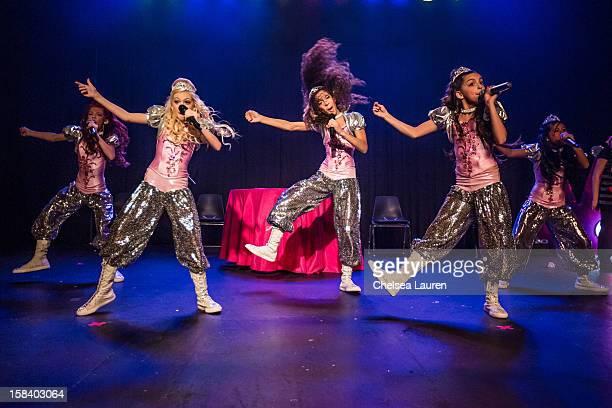 Singers / dancers Kyla Laufer, Jordyn Jones, Aspen Buck, Hailey Paolillo and Anna Villaranda of the 5 Little Princesses perform at the 5 Little...