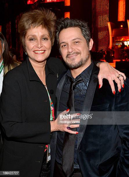 Singers Daniela Romo and Alejandro Sanz during the 2012 Person of the Year honoring Caetano Veloso at the MGM Grand Garden Arena on November 14 2012...
