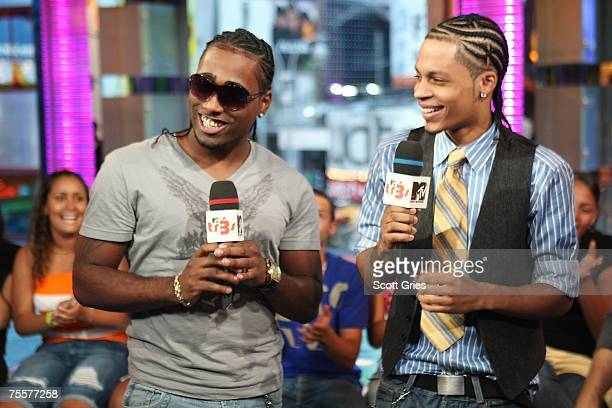 Singers Danny D and Steve Styles of Xtreme appear onstage during MTV's Mi Total Request Live at the MTV Times Square Studios on July 17 2007 in New...
