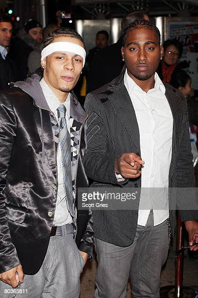 Singers Danny D and Steve Styles of Xtreme arrive at a party to celebrate the one year anniversary of the Conexion Thalia Radio Show at Spotlight...