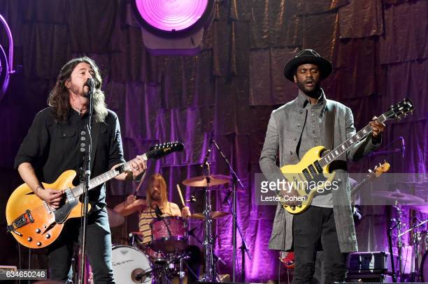 Singers Dave Grohl of the Foo Fighters and Gary Clark Jr onstage during MusiCares Person of the Year honoring Tom Petty at the Los Angeles Convention...