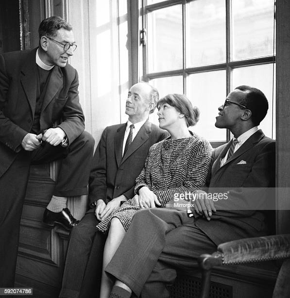 Singers Dave Lambert Jon Hendricks and Annie Ross talking to Reverend Collins 2nd March 1959