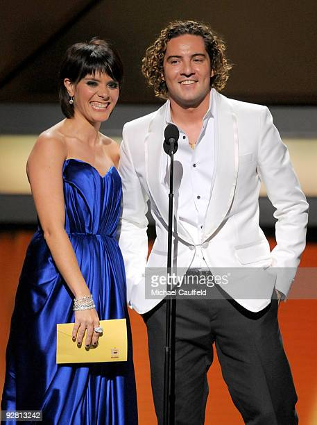 Singers David Bisbal and Kany Garcia speak onstage at the 10th Annual Latin GRAMMY Awards held at the Mandalay Bay Events Center on November 5 2009...