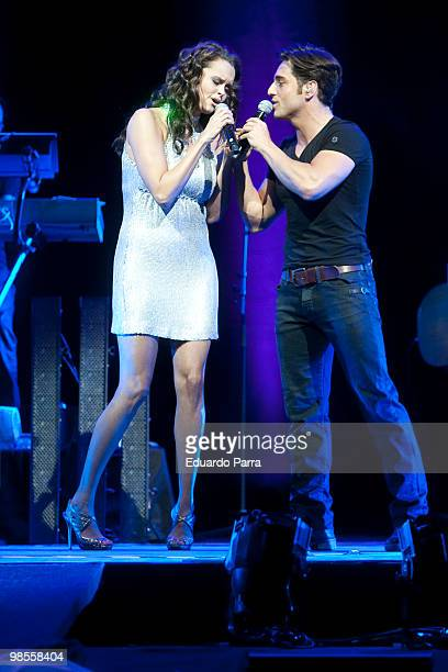 Singers David Bustamante and Shaila Durcal perform during a concert at the Lope de Vega Theatre on April 19 2010 in Madrid Spain