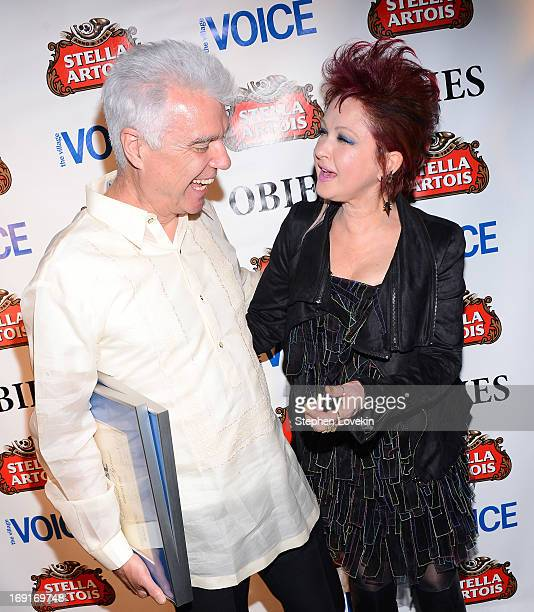 Singers David Byrne and Cyndi Lauper attend The 2013 Obie Awards at Webster Hall on May 20, 2013 in New York City.