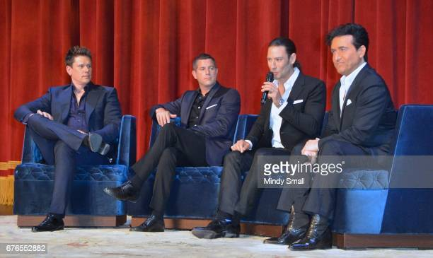 Singers David Miller, Sebastien Izambard, Urs Buhler and Carlos Marin of Il Divo attend a news conference announcing the group's September six-show...