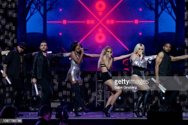 Singers Dawn Richard Shannon Bex and Aubrey O'Day of Danity Kane perform with backup dancers during the 2019 GayVN Awards show at The Joint inside...