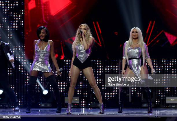 Singers Dawn Richard,Shannon Bex and Aubrey O'Day of Danity Kane perform during the 2019 GayVN Awards show at The Joint inside the Hard Rock Hotel &...