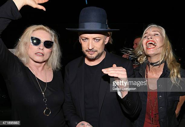 Singers Debbie Harry and Boy George and guest attend a Debbie Harry and Chris Stein hosted cocktail party at the Hollywood Roosevelt Hotel on May 1...