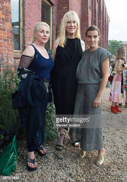 Singers Debbie Harry and Justin Vivian Bond and Fashion Designer Rachel Comey attend the Rachel Comey fashion show at Pioneer Works on September 9...