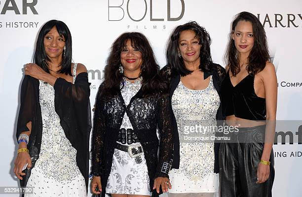 Singers Debbie Sledge Joni Sledge and Kim Sledge of Sister Sledge and Julie AllenSledge attend the amfAR's 23rd Cinema Against AIDS Gala at Hotel du...