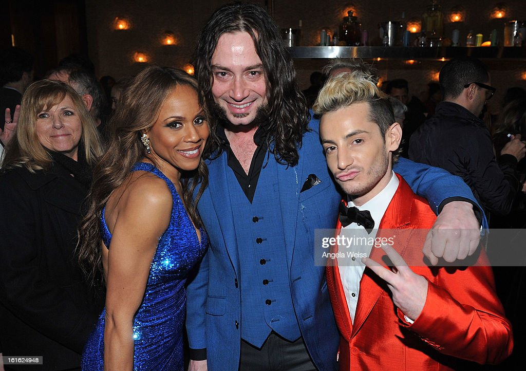 Singers Deborah Cox, Constantine Maroulis and host Frankie Grande attend the opening night after party of 'Jekyll & Hyde' held at Beso on February 12, 2013 in Hollywood, California.