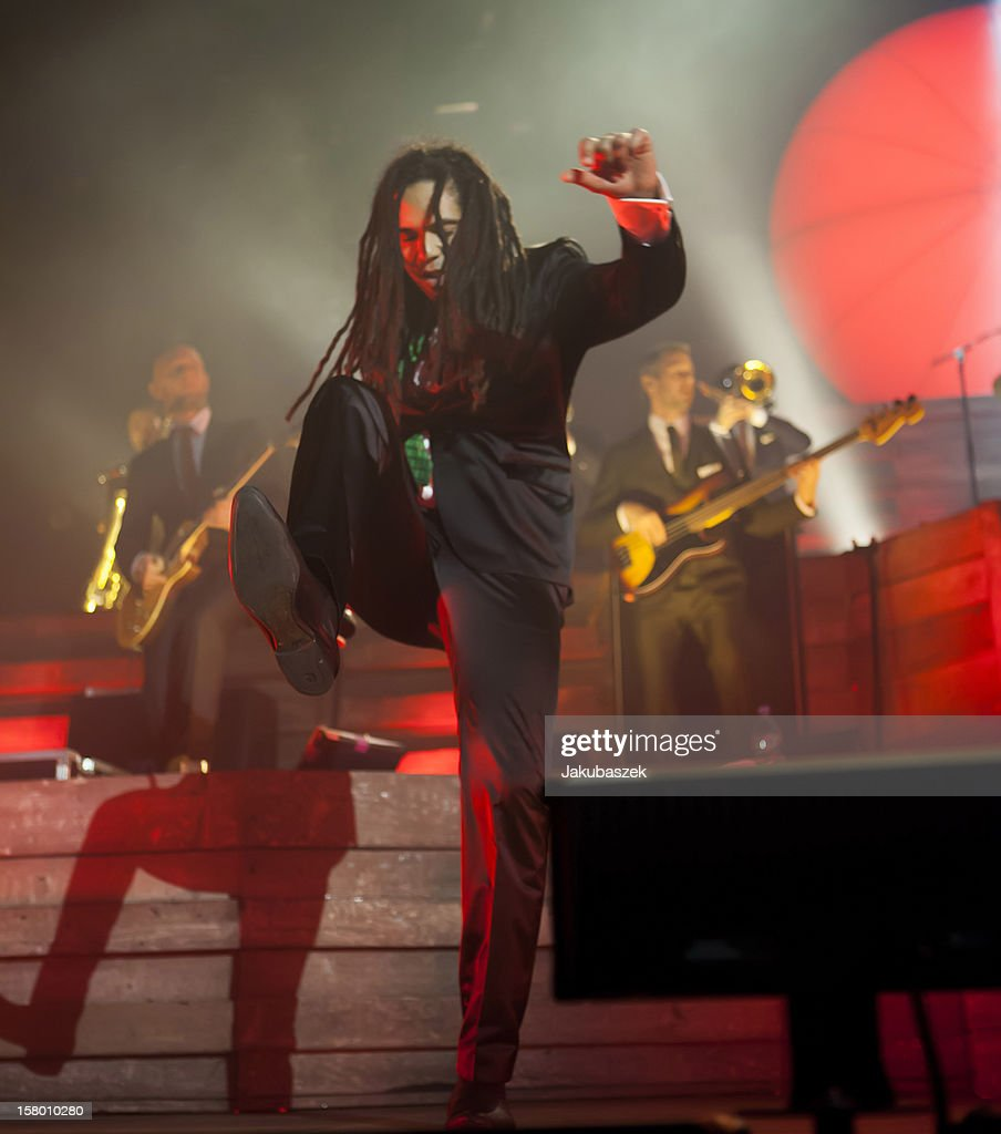 Singers Delle of the German reggae band Seeed performs live during a concert at the Max-Schmeling-Halle on December 8, 2012 in Berlin, Germany.