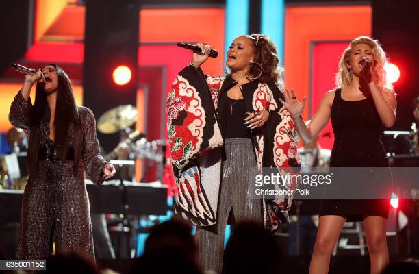 Singers Demi Lovato, Andra Day and Tori Kelly during The 59th GRAMMY Awards at STAPLES Center on February 12, 2017 in Los Angeles, California.