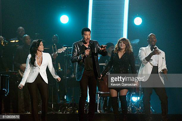 Singers Demi Lovato Lionel Richie Meghan Trainor and Tyrese Gibson perform onstage during The 58th GRAMMY Awards at Staples Center on February 15...