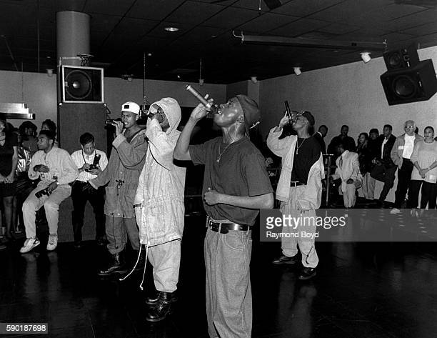 Singers Devante JoJo KCi and Mr Dalvin from Jodeci performs at The LaSalle Club in Chicago Illinois in January 1991