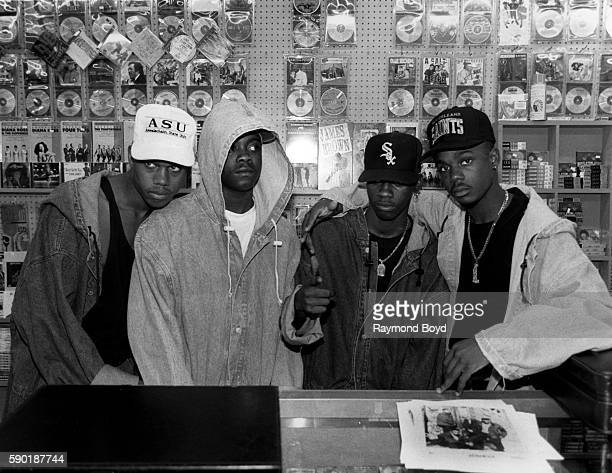 Singers Devante JoJo KCi and Mr Dalvin from Jodeci poses for photos at Jimmie's Records in Chicago Illinois in January 1991