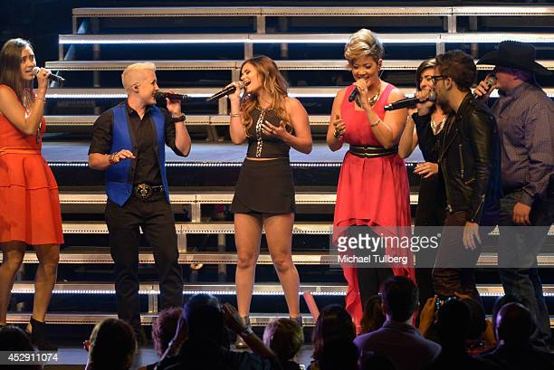Singers Dia Frampton Kristen Merlin Jacquie Lee Tessanne Chin Christina Grimmie Will Champlin and Jake Worthington perform on the Los Angeles stop of...