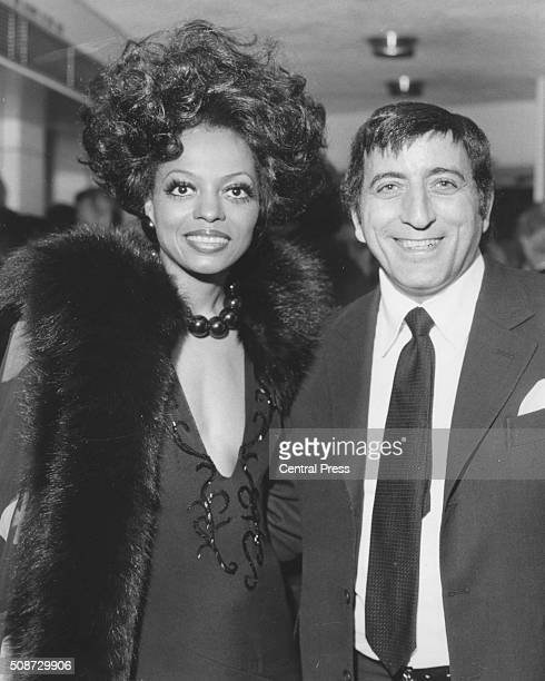 Singers Diana Ross and Tony Bennett attending the premiere of the film 'Lady Sings the Blues' at the ABC 1 Shaftesbury Avenue London April 5th 1973