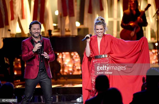 Singers Diego Torres and Rachel Platten perform onstage during The 17th Annual Latin Grammy Awards at TMobile Arena on November 17 2016 in Las Vegas...