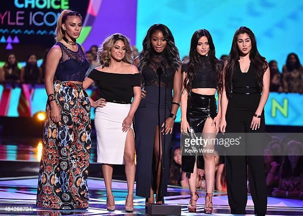 Singers Dinah Jane Hansen Ally Brooke Hernandez Normani Kordei Camila Cabello and Lauren Jauregui of Fifth Harmony speak onstage during the Teen...