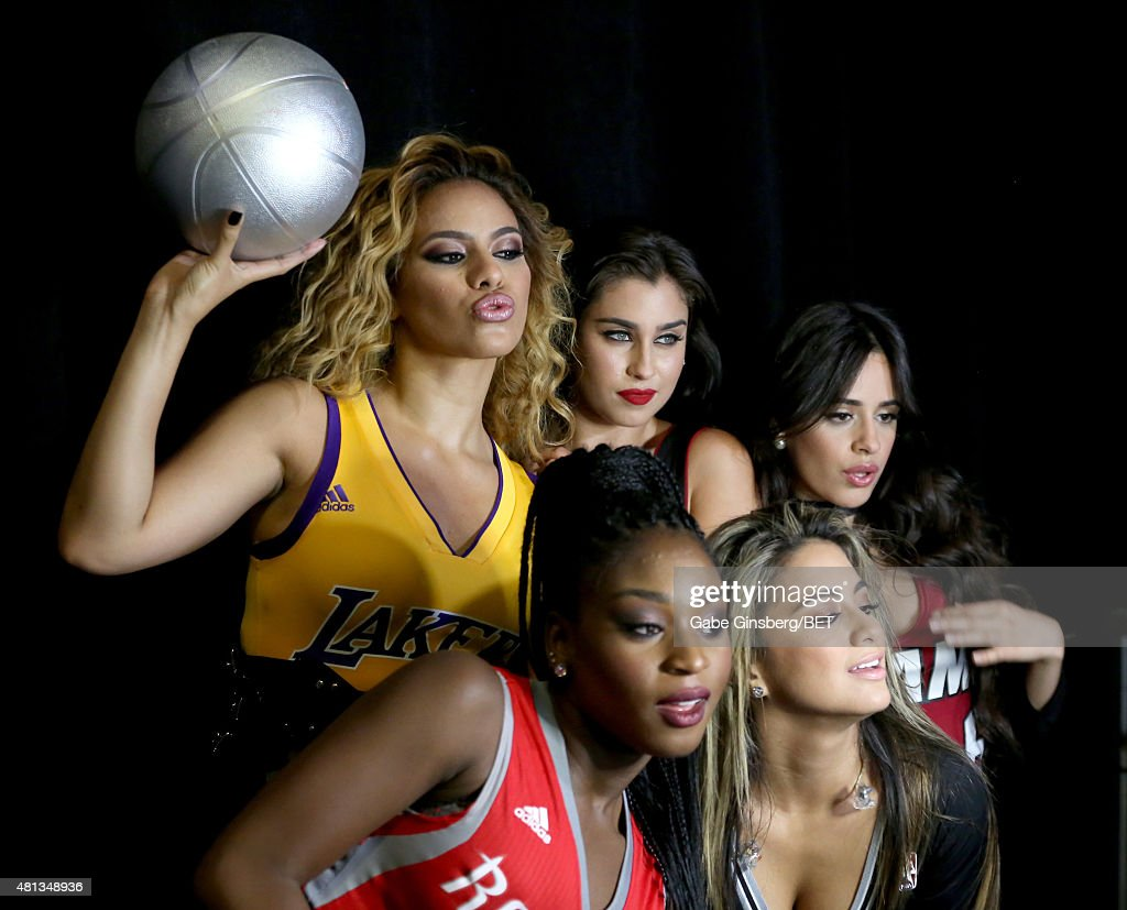 Singers Dinah Jane Hansen (top L), Lauren Jauregui (top C), Camila Cabello (top R), Normani Kordei (L) and Ally Brooke (R) of Fifth Harmony appear backstage during The Players' Awards presented by BET at the Rio Hotel & Casino on July 19, 2015 in Las Vegas, Nevada.
