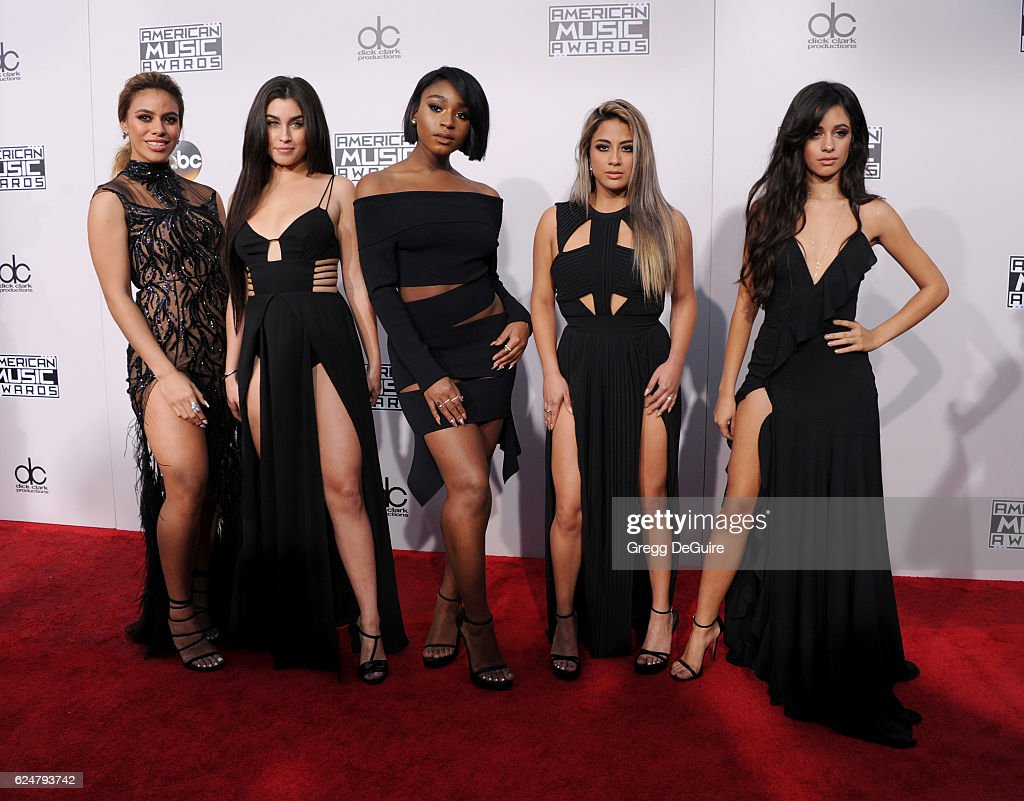 Singers Dinah Jane Hansen, Lauren Jauregui, Normani Hamilton, Ally Brooke and Camila Cabello of Fifth Harmony arrive at the 2016 American Music Awards at Microsoft Theater on November 20, 2016 in Los Angeles, California.
