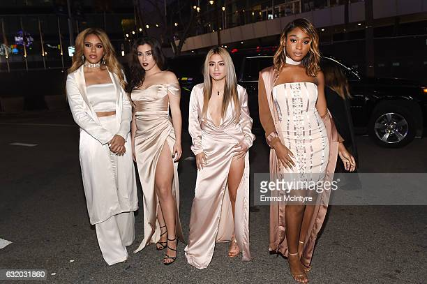 Singers Dinah Jane Lauren Jauregui Ally Brooke and Normani Kordei of Fifth Harmony attend the People's Choice Awards 2017 at Microsoft Theater on...