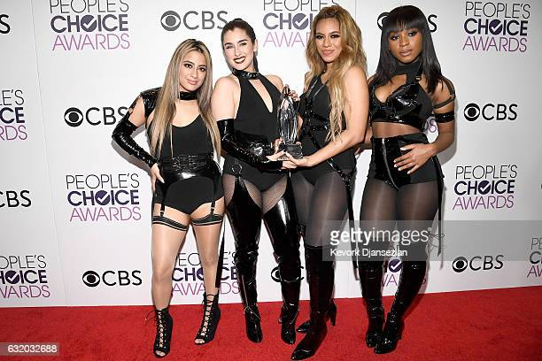 Singers Dinah Jane Lauren Jauregui Ally Brooke and Normani Kordei of Fifth Harmony winners of the Favorite Group Award pose in the press room during...
